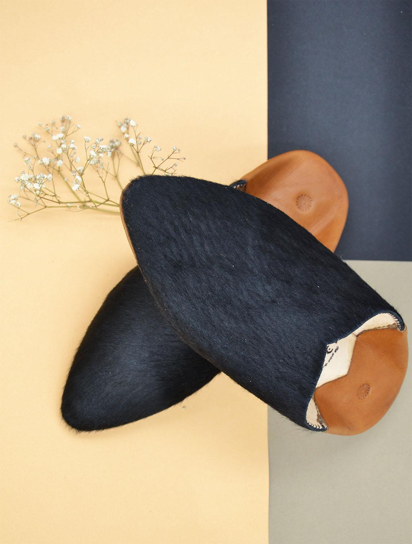 luce fashion babouches bicolores luce noire talon fauve