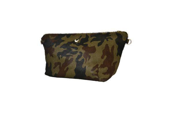 Khaki leather pouche 3/4 front