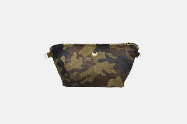 Khaki leather pouche front