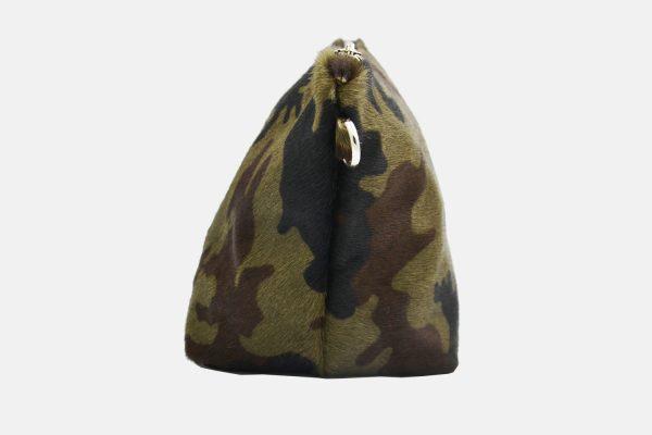 Khaki leather pouche side