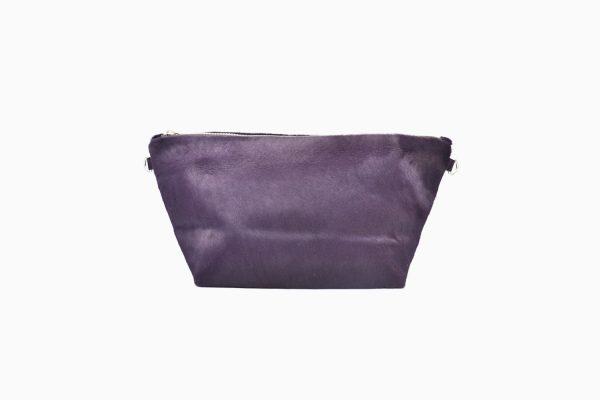 Purple leather pouche backside