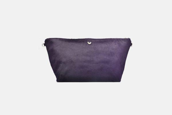 Purple leather pouche front