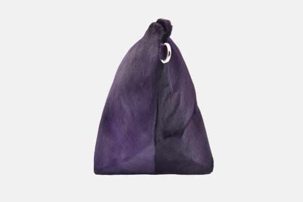 Purple leather pouche side